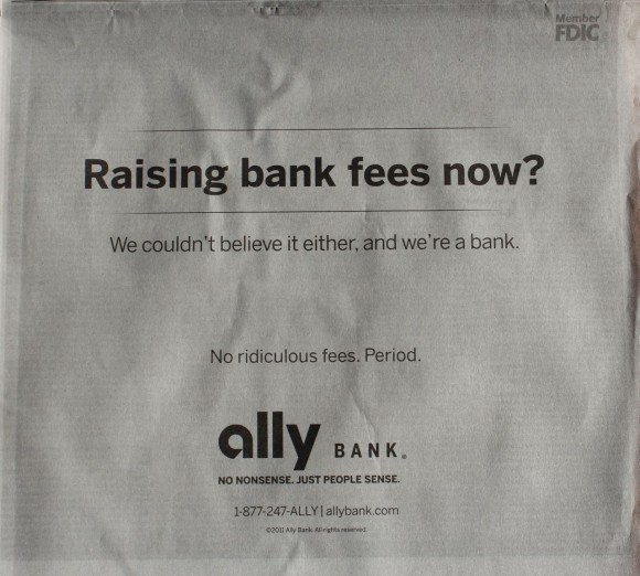 Ally newspaper ad, October 2011